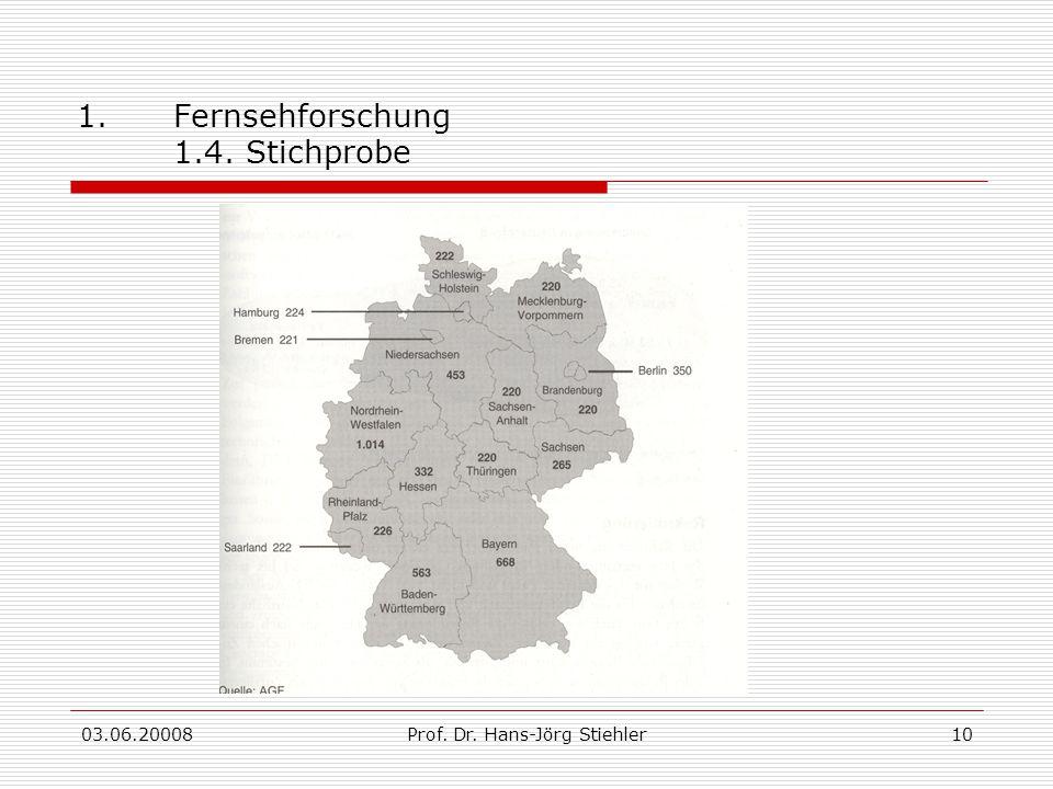 03.06.20008Prof. Dr. Hans-Jörg Stiehler10 1.Fernsehforschung 1.4. Stichprobe