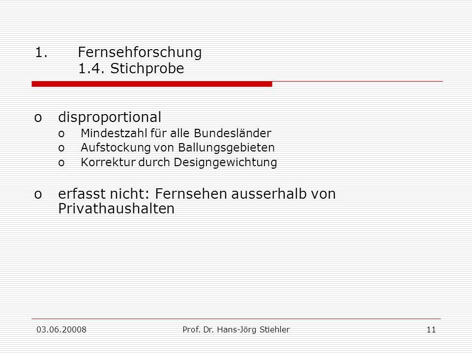 03.06.20008Prof. Dr. Hans-Jörg Stiehler11 1.Fernsehforschung 1.4. Stichprobe odisproportional oMindestzahl für alle Bundesländer oAufstockung von Ball