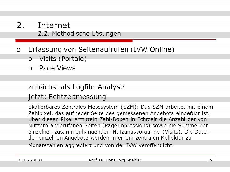 03.06.20008Prof. Dr. Hans-Jörg Stiehler19 2.Internet 2.2. Methodische Lösungen oErfassung von Seitenaufrufen (IVW Online) oVisits (Portale) oPage View