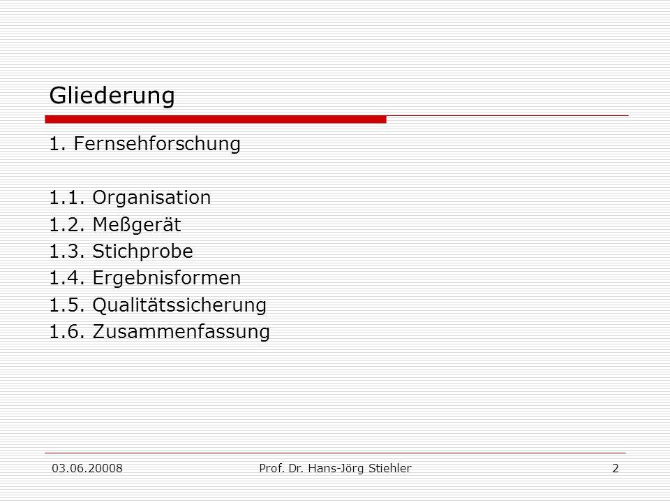 03.06.20008Prof. Dr. Hans-Jörg Stiehler2 Gliederung 1. Fernsehforschung 1.1. Organisation 1.2. Meßgerät 1.3. Stichprobe 1.4. Ergebnisformen 1.5. Quali