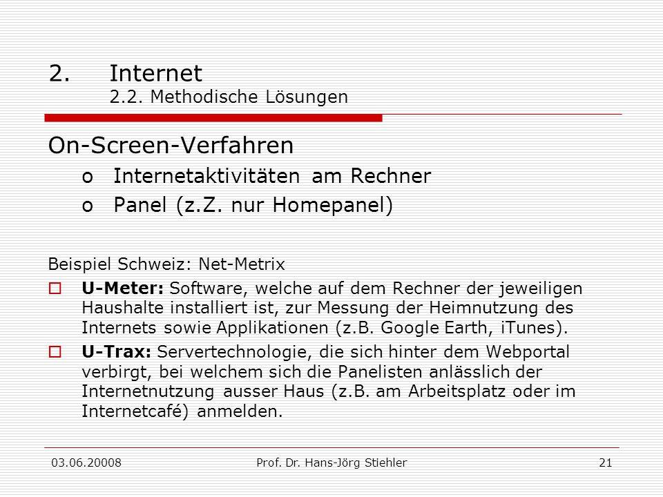 03.06.20008Prof. Dr. Hans-Jörg Stiehler21 2.Internet 2.2. Methodische Lösungen On-Screen-Verfahren oInternetaktivitäten am Rechner oPanel (z.Z. nur Ho