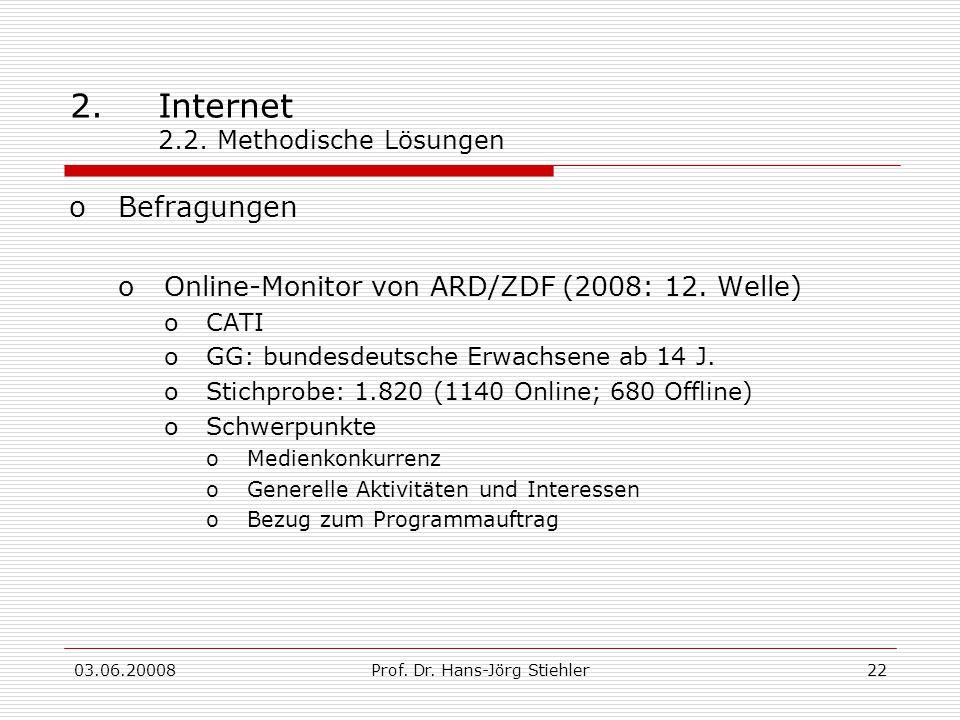 03.06.20008Prof. Dr. Hans-Jörg Stiehler22 2.Internet 2.2. Methodische Lösungen oBefragungen oOnline-Monitor von ARD/ZDF (2008: 12. Welle) oCATI oGG: b