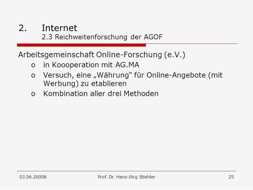 03.06.20008Prof. Dr. Hans-Jörg Stiehler25 2.Internet 2.3 Reichweitenforschung der AGOF Arbeitsgemeinschaft Online-Forschung (e.V.) oin Koooperation mi