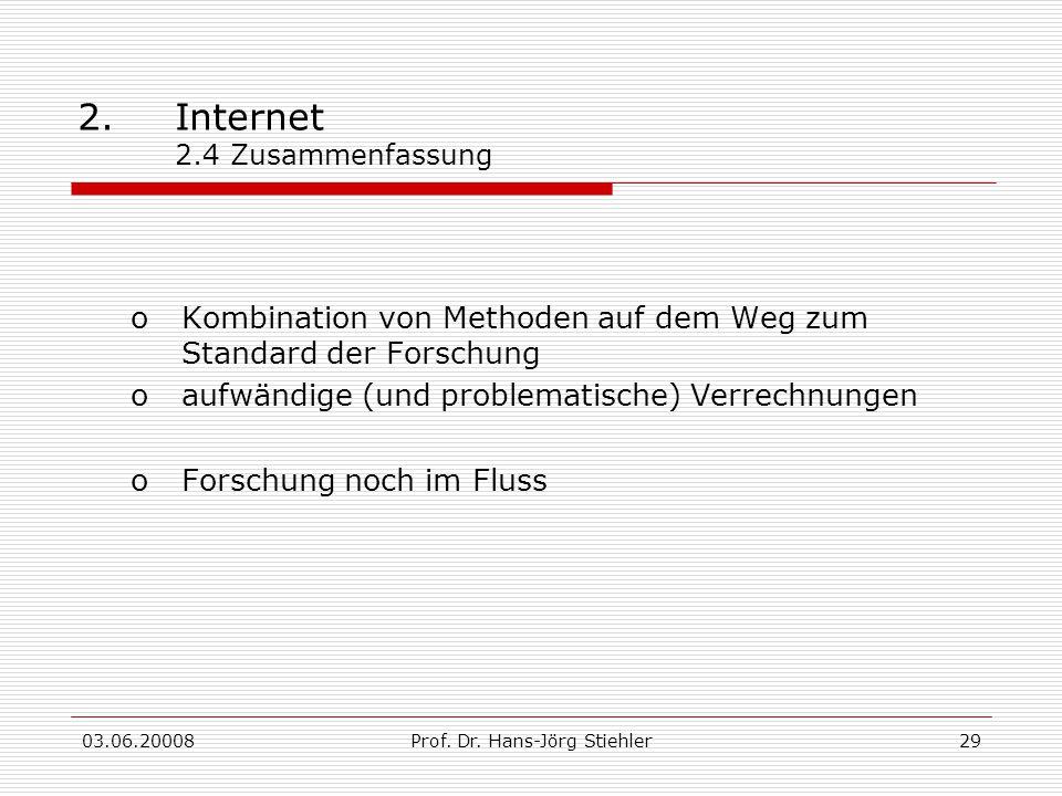 03.06.20008Prof. Dr. Hans-Jörg Stiehler29 2.Internet 2.4 Zusammenfassung oKombination von Methoden auf dem Weg zum Standard der Forschung oaufwändige