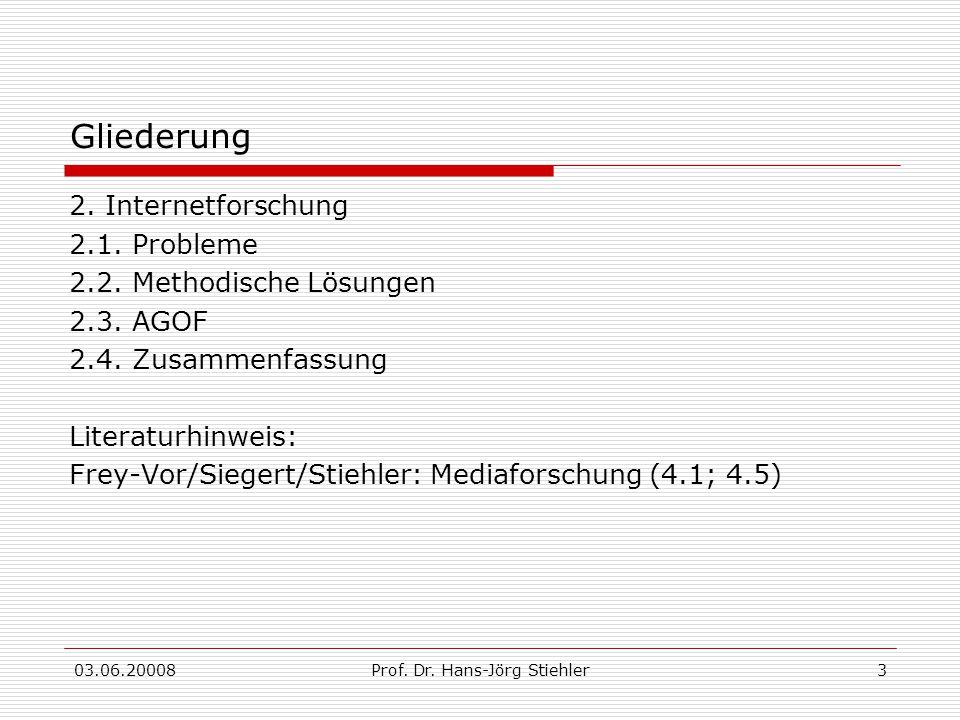 03.06.20008Prof. Dr. Hans-Jörg Stiehler3 Gliederung 2. Internetforschung 2.1. Probleme 2.2. Methodische Lösungen 2.3. AGOF 2.4. Zusammenfassung Litera