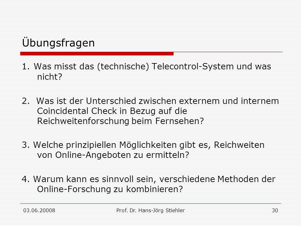 03.06.20008Prof. Dr. Hans-Jörg Stiehler30 Übungsfragen 1. Was misst das (technische) Telecontrol-System und was nicht? 2. Was ist der Unterschied zwis