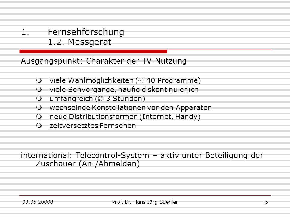 03.06.20008Prof. Dr. Hans-Jörg Stiehler5 1.Fernsehforschung 1.2. Messgerät Ausgangspunkt: Charakter der TV-Nutzung  viele Wahlmöglichkeiten ( 40 Pro