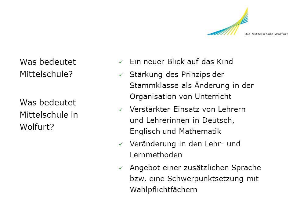 Was bedeutet Mittelschule? Was bedeutet Mittelschule in Wolfurt? Ein neuer Blick auf das Kind Stärkung des Prinzips der Stammklasse als Änderung in de
