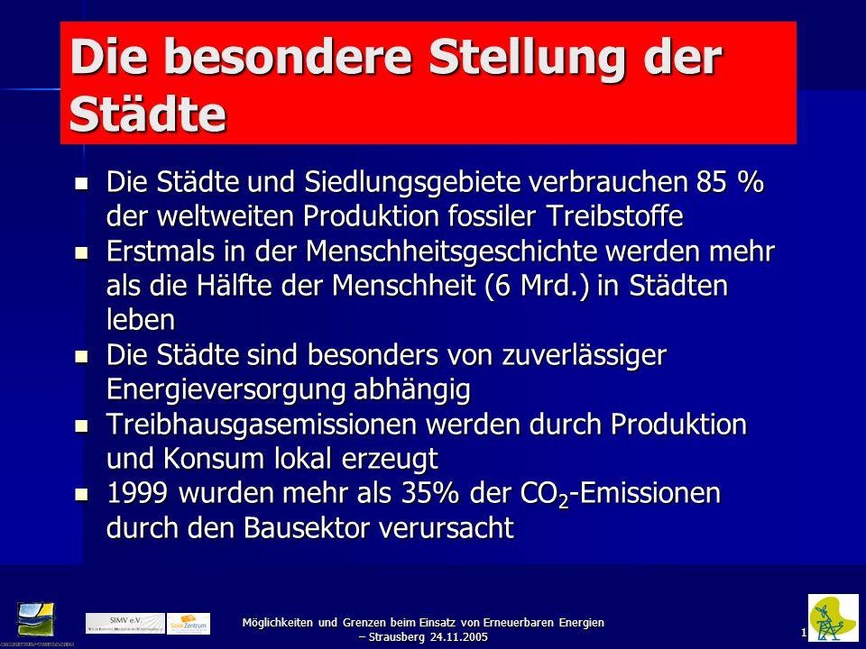 """22 Möglichkeiten und Grenzen beim Einsatz von Erneuerbaren Energien – Strausberg 24.11.2005 Ausbau der Erneuerbaren Energien bis 2010 in Deutschland mit der Zielsetzung einer ungefähren Verdopplung ihres Beitrages (Studie """"Klimaschutz durch Nutzung erneuerbarer Energien,Umweltbundesamt, Januar 2000) EnergieartStatus 1997Ausbau 2010Verhältnis 2010/1997 Elek- trizität Nutz- wärme Primär- energie Elek- trizität Nutz- wärme Primär- energie Elek- trizität Nutz- wärme Primär- energie (GWh/a) (PJ/a)(GWh/a) (PJ/a) Wasser- kraft 18.900 6823.334 841,23 Wind- energie 4.050 1524.940 906,16 Photo- voltaik 32 0627 219,59 Biogene Festbrenn- stoffe 17913.410621.61524.1371179,021,801,87 Biogene gasf."""