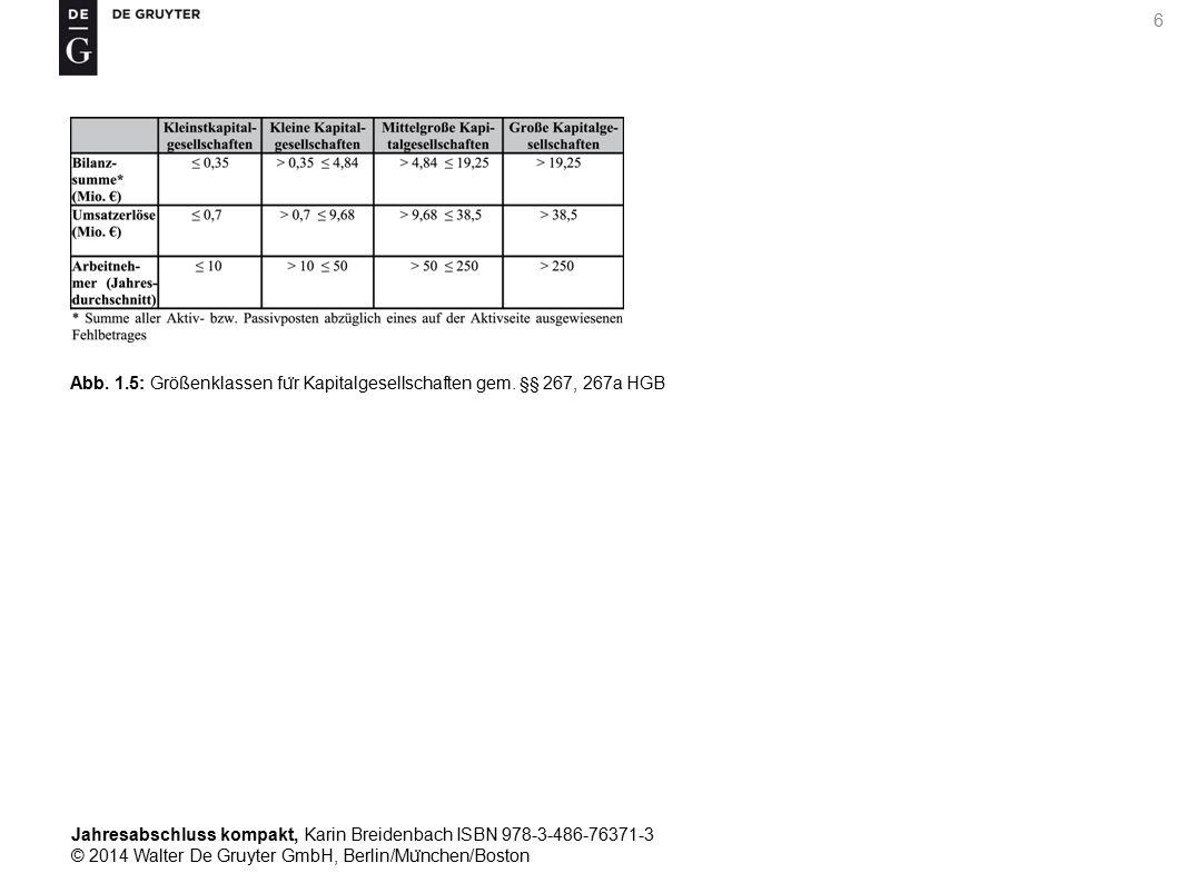 Jahresabschluss kompakt, Karin Breidenbach ISBN 978-3-486-76371-3 © 2014 Walter De Gruyter GmbH, Berlin/Mu ̈ nchen/Boston 6 Abb.
