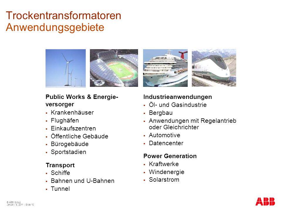 © ABB Group January 6, 2011 | Slide 10 Trockentransformatoren Anwendungsgebiete Public Works & Energie- versorger  Krankenhäuser  Flughäfen  Einkau