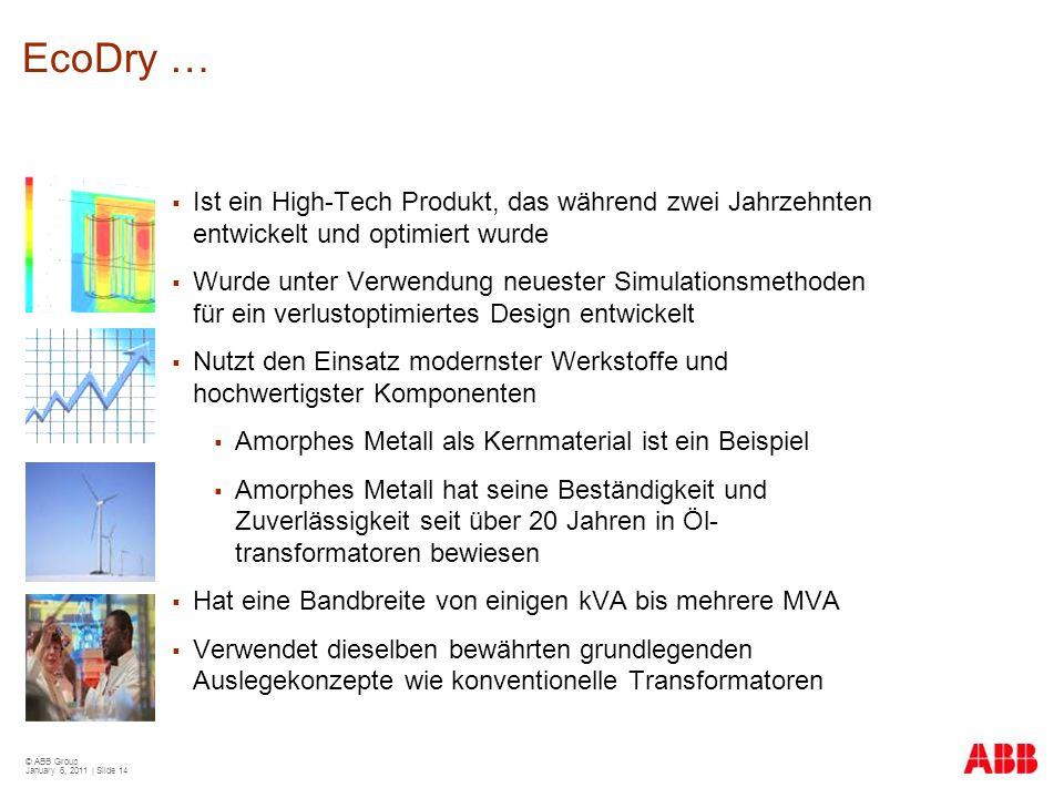 © ABB Group January 6, 2011 | Slide 14 EcoDry …  Ist ein High-Tech Produkt, das während zwei Jahrzehnten entwickelt und optimiert wurde  Wurde unter