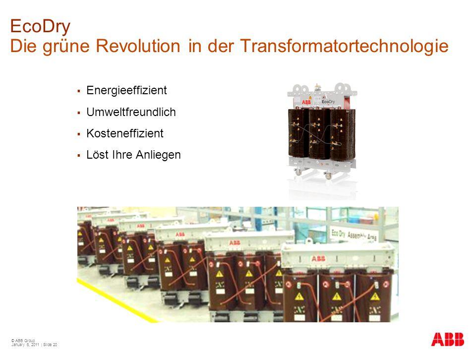 © ABB Group January 6, 2011 | Slide 20 EcoDry Die grüne Revolution in der Transformatortechnologie  Energieeffizient  Umweltfreundlich  Kosteneffiz