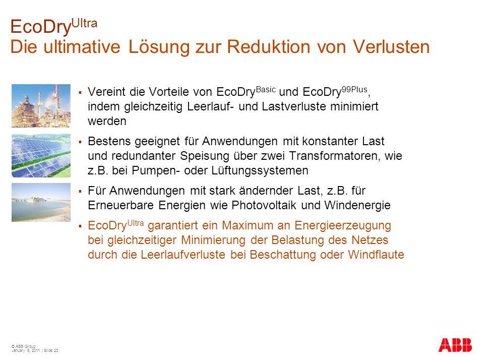 © ABB Group January 6, 2011 | Slide 23 EcoDry Ultra Die ultimative Lösung zur Reduktion von Verlusten  Vereint die Vorteile von EcoDry Basic und EcoD