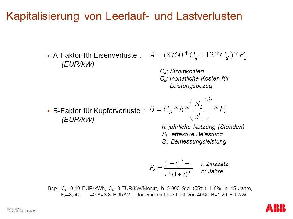 © ABB Group January 6, 2011 | Slide 26 Kapitalisierung von Leerlauf- und Lastverlusten  A-Faktor für Eisenverluste : (EUR/kW)  B-Faktor für Kupferve