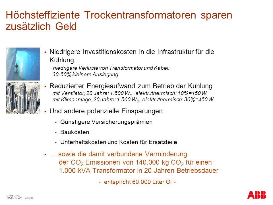 © ABB Group January 6, 2011 | Slide 28 Höchsteffiziente Trockentransformatoren sparen zusätzlich Geld  Niedrigere Investitionskosten in die Infrastru