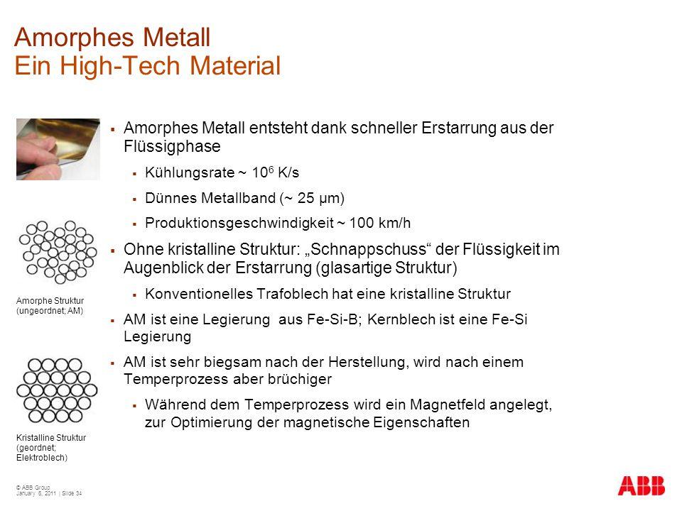 © ABB Group January 6, 2011 | Slide 34 Amorphes Metall Ein High-Tech Material  Amorphes Metall entsteht dank schneller Erstarrung aus der Flüssigphas