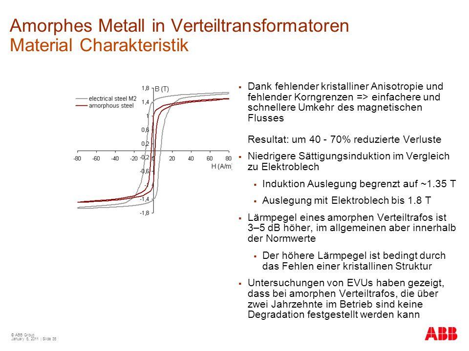© ABB Group January 6, 2011 | Slide 35 Amorphes Metall in Verteiltransformatoren Material Charakteristik  Dank fehlender kristalliner Anisotropie und