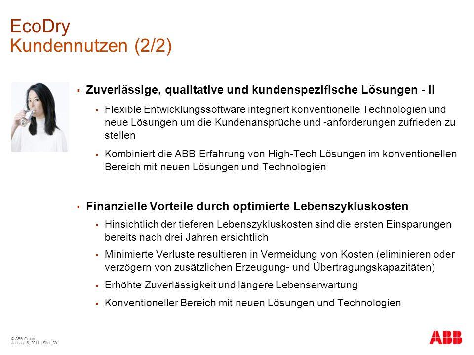 © ABB Group January 6, 2011 | Slide 39 EcoDry Kundennutzen (2/2)  Zuverlässige, qualitative und kundenspezifische Lösungen - II  Flexible Entwicklun
