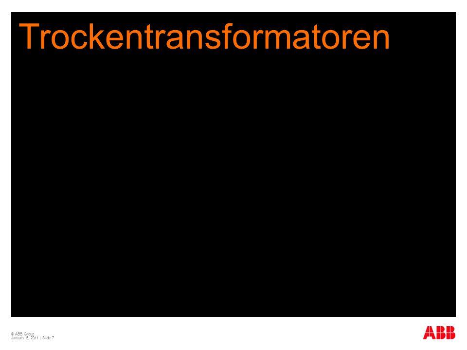 © ABB Group January 6, 2011 | Slide 28 Höchsteffiziente Trockentransformatoren sparen zusätzlich Geld  Niedrigere Investitionskosten in die Infrastruktur für die Kühlung niedrigere Verluste von Transformator und Kabel: 30-50% kleinere Auslegung  Reduzierter Energieaufwand zum Betrieb der Kühlung mit Ventilator, 20 Jahre: 1.500 W th, elektr./thermisch: 10%=150 W mit Klimaanlage, 20 Jahre: 1.500 W th, elektr./thermisch: 30%=450 W  Und andere potenzielle Einsparungen  Günstigere Versicherungsprämien  Baukosten  Unterhaltskosten und Kosten für Ersatzteile  … sowie die damit verbundene Verminderung der CO 2 Emissionen von 140.000 kg CO 2 für einen 1.000 kVA Transformator in 20 Jahren Betriebsdauer - entspricht 60.000 Liter Öl -
