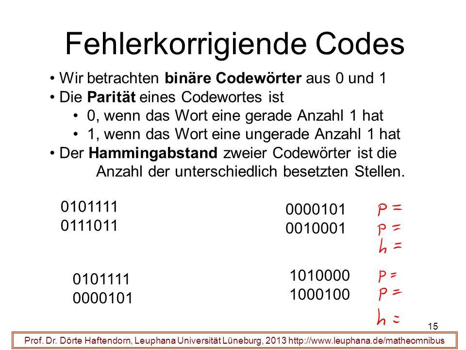 15 Fehlerkorrigiende Codes Prof. Dr.