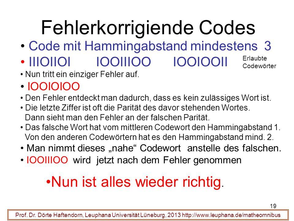 19 Fehlerkorrigiende Codes Prof. Dr.