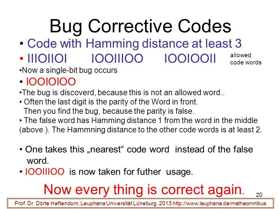 20 Bug Corrective Codes Prof. Dr.