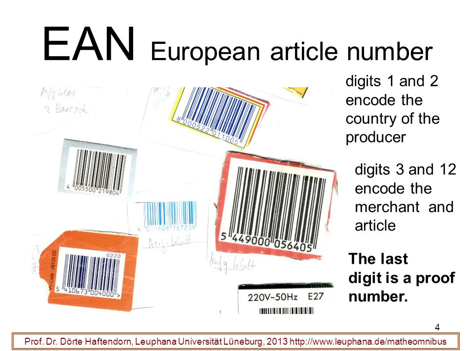 4 EAN European article number Prof. Dr. Dörte Haftendorn, Leuphana Universität Lüneburg, 2013 http://www.leuphana.de/matheomnibus digits 1 and 2 encod