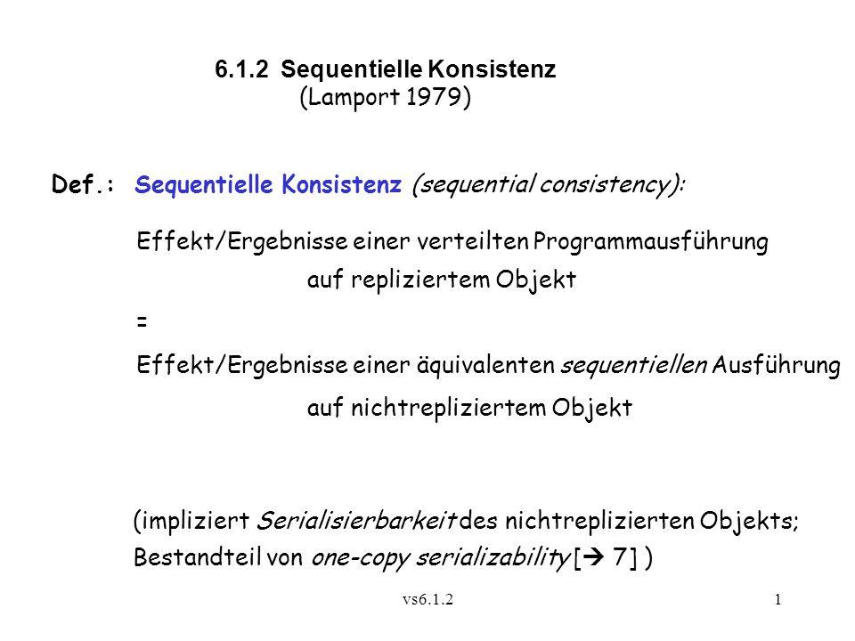 vs6.1.21 6.1.2 Sequentielle Konsistenz (Lamport 1979) Def.: Sequentielle Konsistenz (sequential consistency): Effekt/Ergebnisse einer verteilten Progr