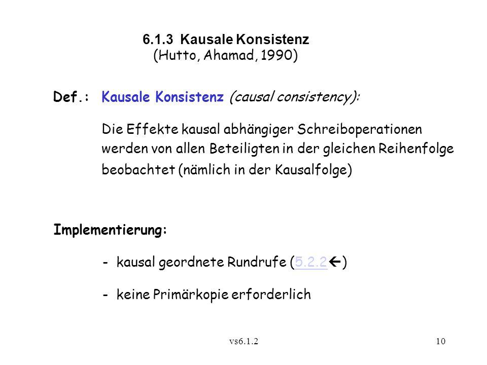 vs6.1.210 6.1.3 Kausale Konsistenz (Hutto, Ahamad, 1990) Def.:Kausale Konsistenz (causal consistency): Die Effekte kausal abhängiger Schreiboperatione