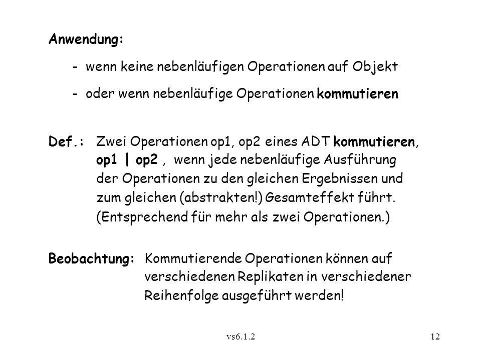 vs6.1.212 Anwendung: - wenn keine nebenläufigen Operationen auf Objekt - oder wenn nebenläufige Operationen kommutieren Def.:Zwei Operationen op1, op2
