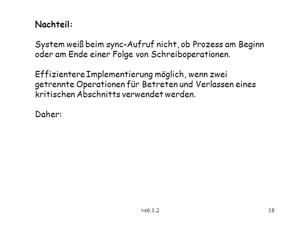 vs6.1.218 Nachteil: System weiß beim sync-Aufruf nicht, ob Prozess am Beginn oder am Ende einer Folge von Schreiboperationen. Effizientere Implementie