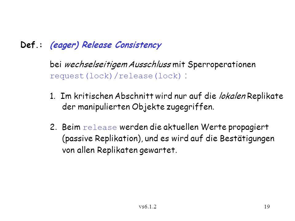 vs6.1.219 Def.:(eager) Release Consistency bei wechselseitigem Ausschluss mit Sperroperationen request(lock)/release(lock) : 1. Im kritischen Abschnit