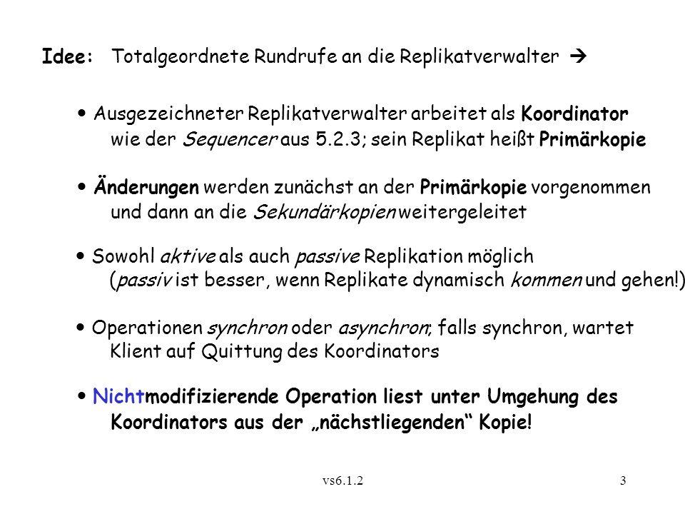 vs6.1.23 Idee:Totalgeordnete Rundrufe an die Replikatverwalter  Ausgezeichneter Replikatverwalter arbeitet als Koordinator wie der Sequencer aus 5.2.