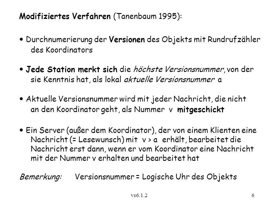 vs6.1.26 Modifiziertes Verfahren (Tanenbaum 1995): Durchnumerierung der Versionen des Objekts mit Rundrufzähler des Koordinators Jede Station merkt si
