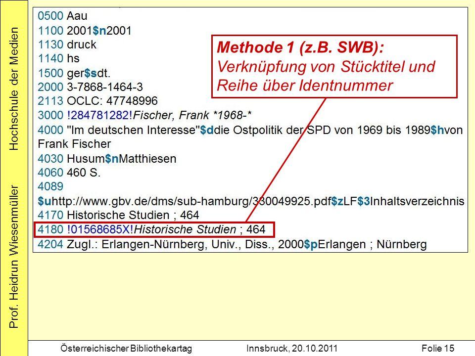 Prof. Heidrun Wiesenmüller Hochschule der Medien Österreichischer BibliothekartagInnsbruck, 20.10.2011Folie 15 Methode 1 (z.B. SWB): Verknüpfung von S