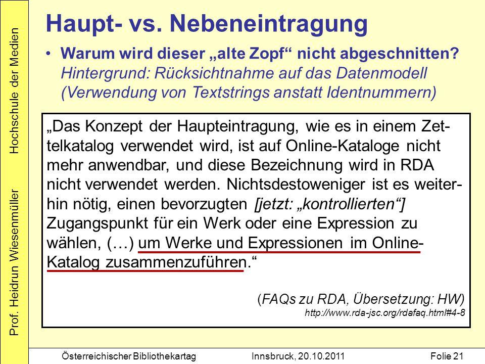 """Prof. Heidrun Wiesenmüller Hochschule der Medien Österreichischer BibliothekartagInnsbruck, 20.10.2011Folie 21 Haupt- vs. Nebeneintragung """"Das Konzept"""