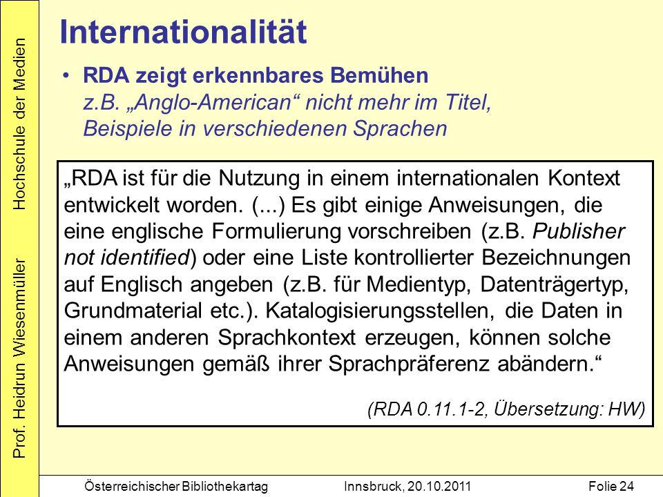 """Prof. Heidrun Wiesenmüller Hochschule der Medien Österreichischer BibliothekartagInnsbruck, 20.10.2011Folie 24 Internationalität """"RDA ist für die Nutz"""