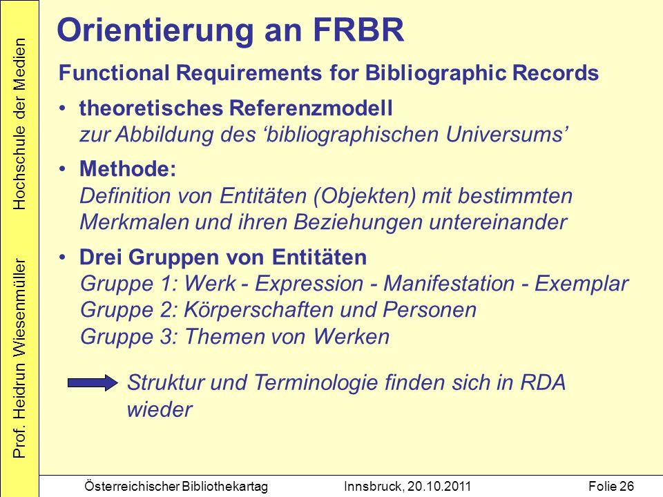 Prof. Heidrun Wiesenmüller Hochschule der Medien Österreichischer BibliothekartagInnsbruck, 20.10.2011Folie 26 Orientierung an FRBR Functional Require