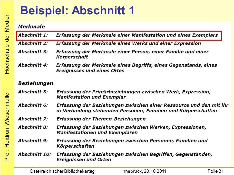 Prof. Heidrun Wiesenmüller Hochschule der Medien Österreichischer BibliothekartagInnsbruck, 20.10.2011Folie 31 Beispiel: Abschnitt 1