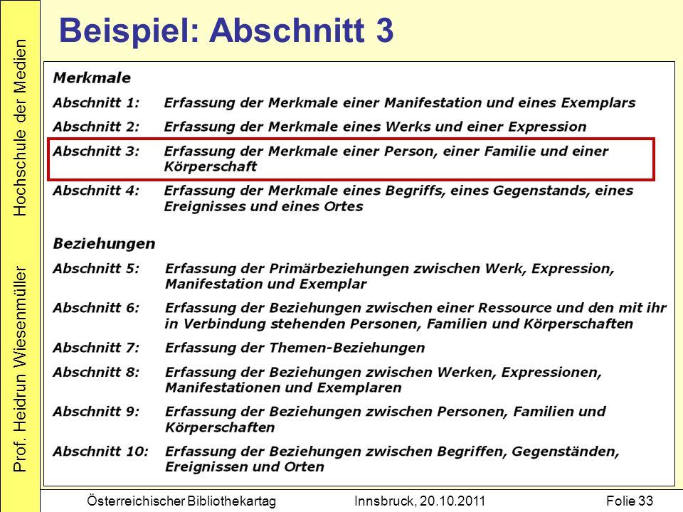 Prof. Heidrun Wiesenmüller Hochschule der Medien Österreichischer BibliothekartagInnsbruck, 20.10.2011Folie 33 Beispiel: Abschnitt 3