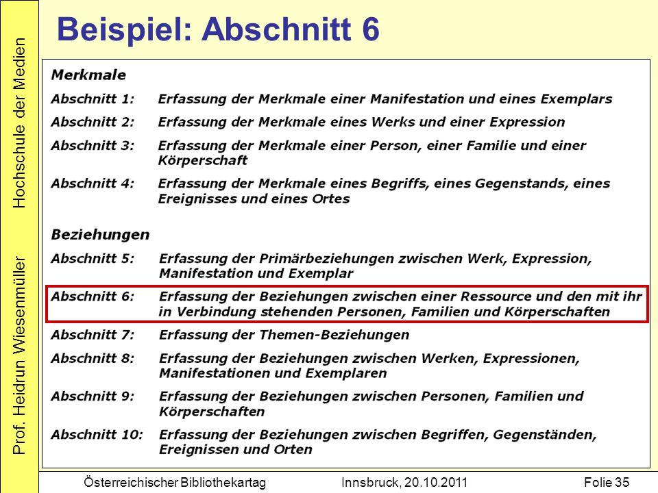 Prof. Heidrun Wiesenmüller Hochschule der Medien Österreichischer BibliothekartagInnsbruck, 20.10.2011Folie 35 Beispiel: Abschnitt 6