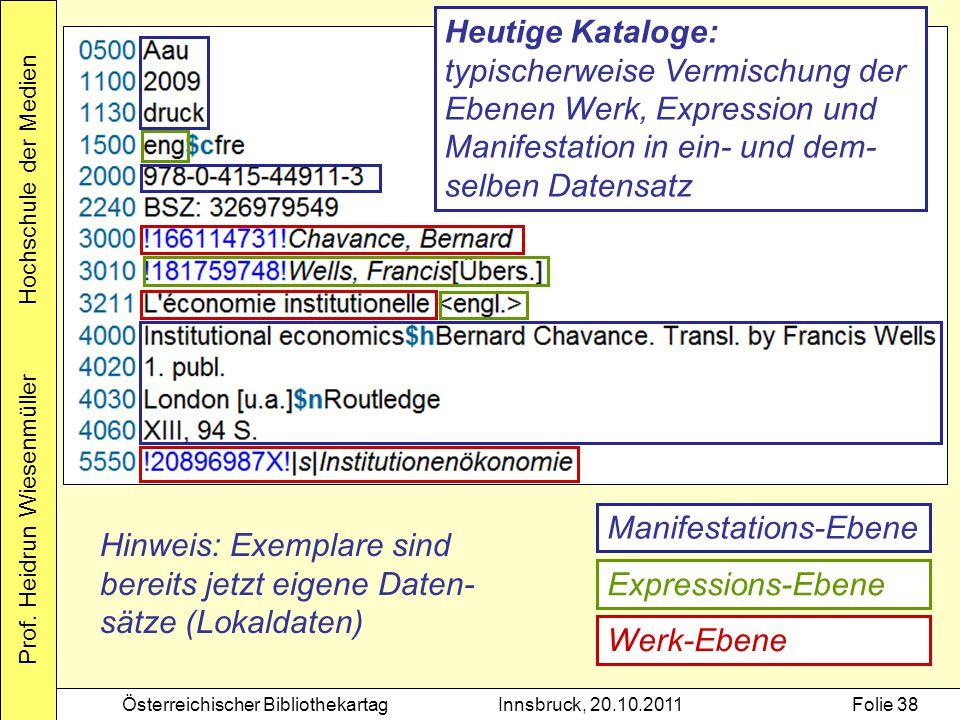 Prof. Heidrun Wiesenmüller Hochschule der Medien Österreichischer BibliothekartagInnsbruck, 20.10.2011Folie 38 Manifestations-Ebene Werk-Ebene Express
