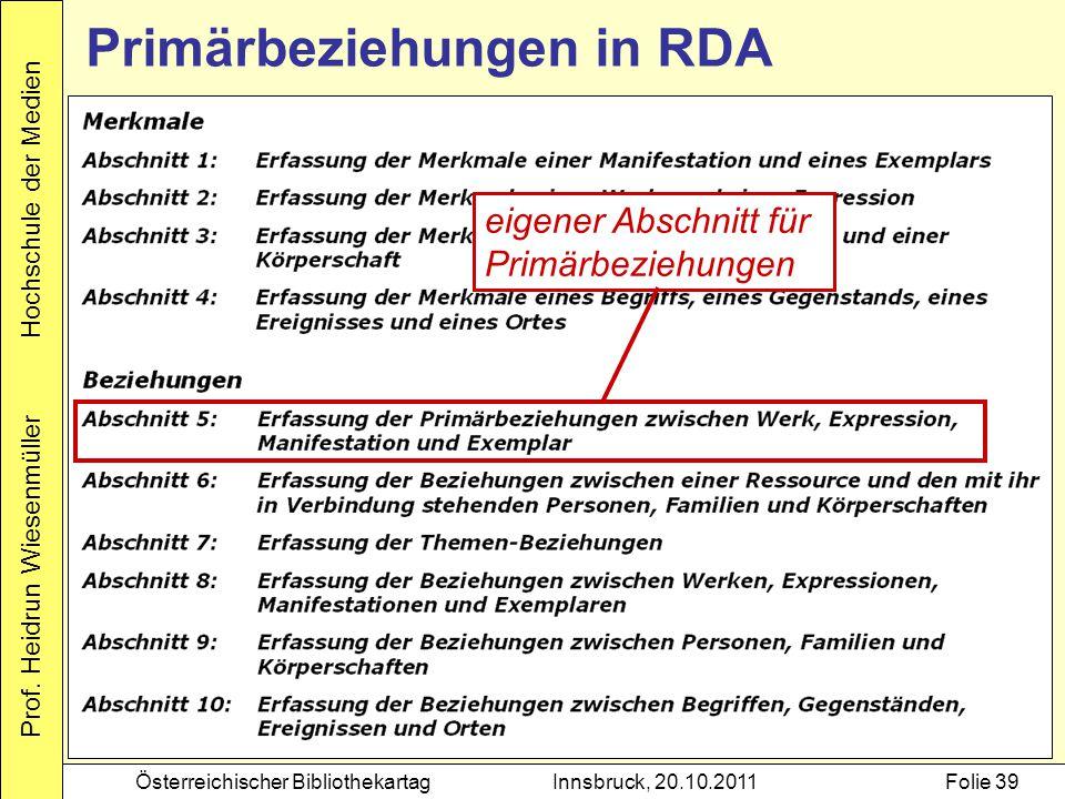 Prof. Heidrun Wiesenmüller Hochschule der Medien Österreichischer BibliothekartagInnsbruck, 20.10.2011Folie 39 eigener Abschnitt für Primärbeziehungen