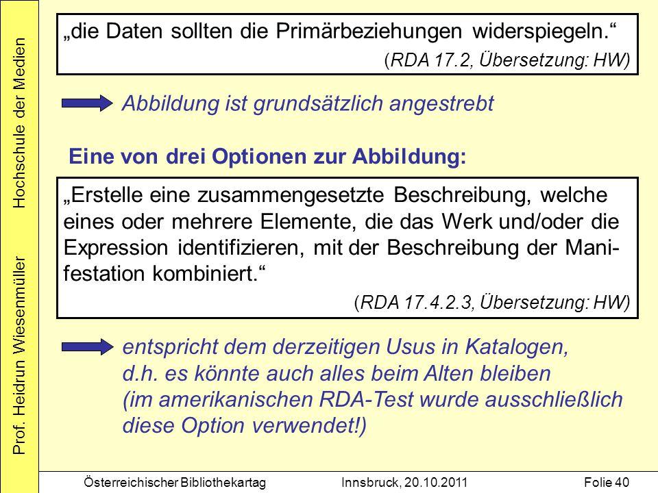 """Prof. Heidrun Wiesenmüller Hochschule der Medien Österreichischer BibliothekartagInnsbruck, 20.10.2011Folie 40 """"die Daten sollten die Primärbeziehunge"""