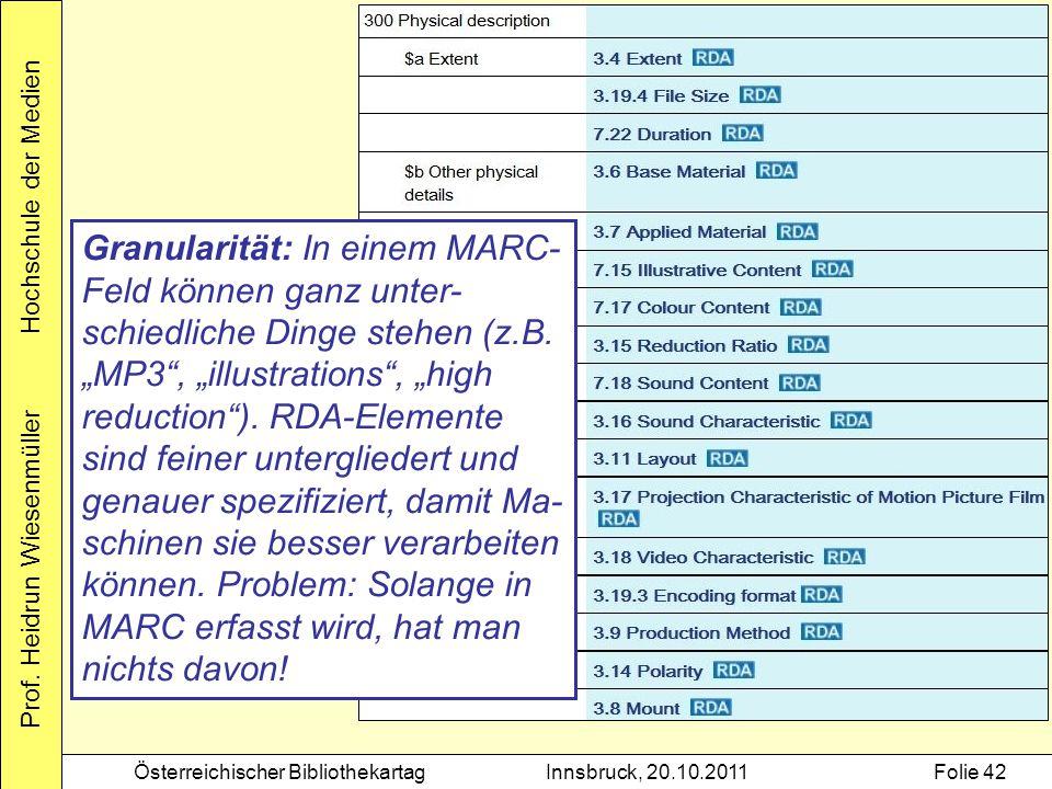 Prof. Heidrun Wiesenmüller Hochschule der Medien Österreichischer BibliothekartagInnsbruck, 20.10.2011Folie 42 Granularität: In einem MARC- Feld könne