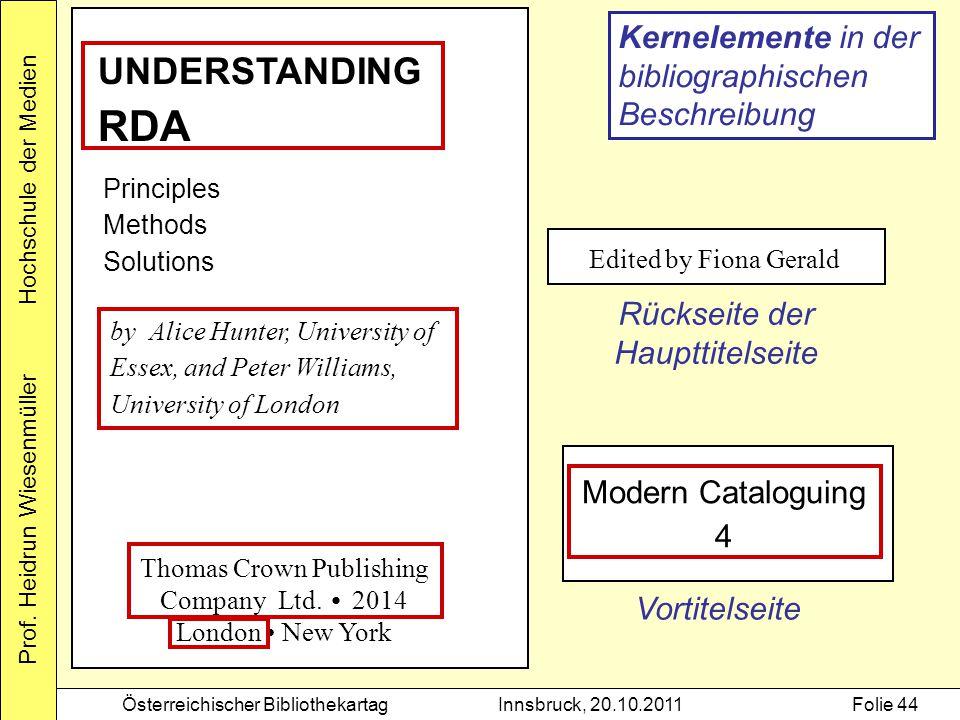 Prof. Heidrun Wiesenmüller Hochschule der Medien Österreichischer BibliothekartagInnsbruck, 20.10.2011Folie 44 Edited by Fiona Gerald Rückseite der Ha