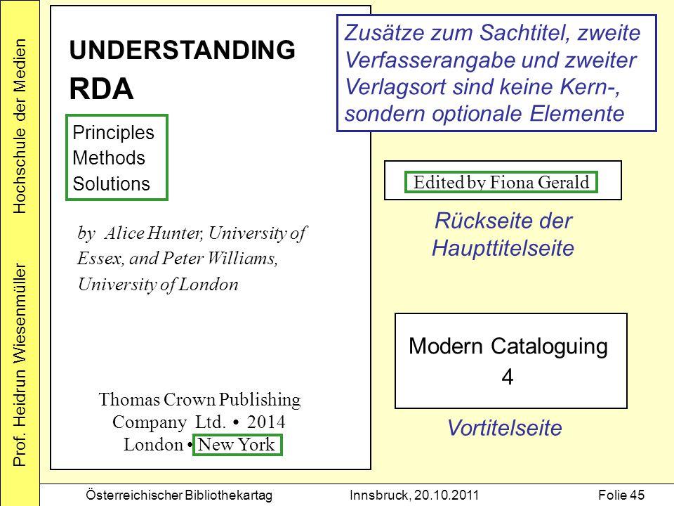 Prof. Heidrun Wiesenmüller Hochschule der Medien Österreichischer BibliothekartagInnsbruck, 20.10.2011Folie 45 UNDERSTANDING RDA Principles Methods So