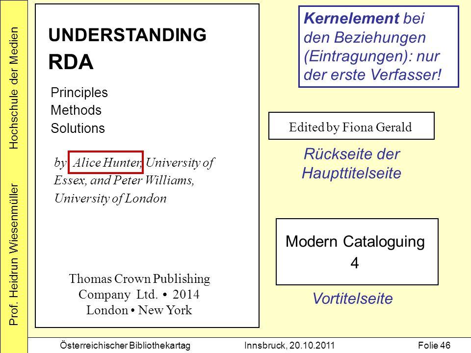 Prof. Heidrun Wiesenmüller Hochschule der Medien Österreichischer BibliothekartagInnsbruck, 20.10.2011Folie 46 UNDERSTANDING RDA Principles Methods So