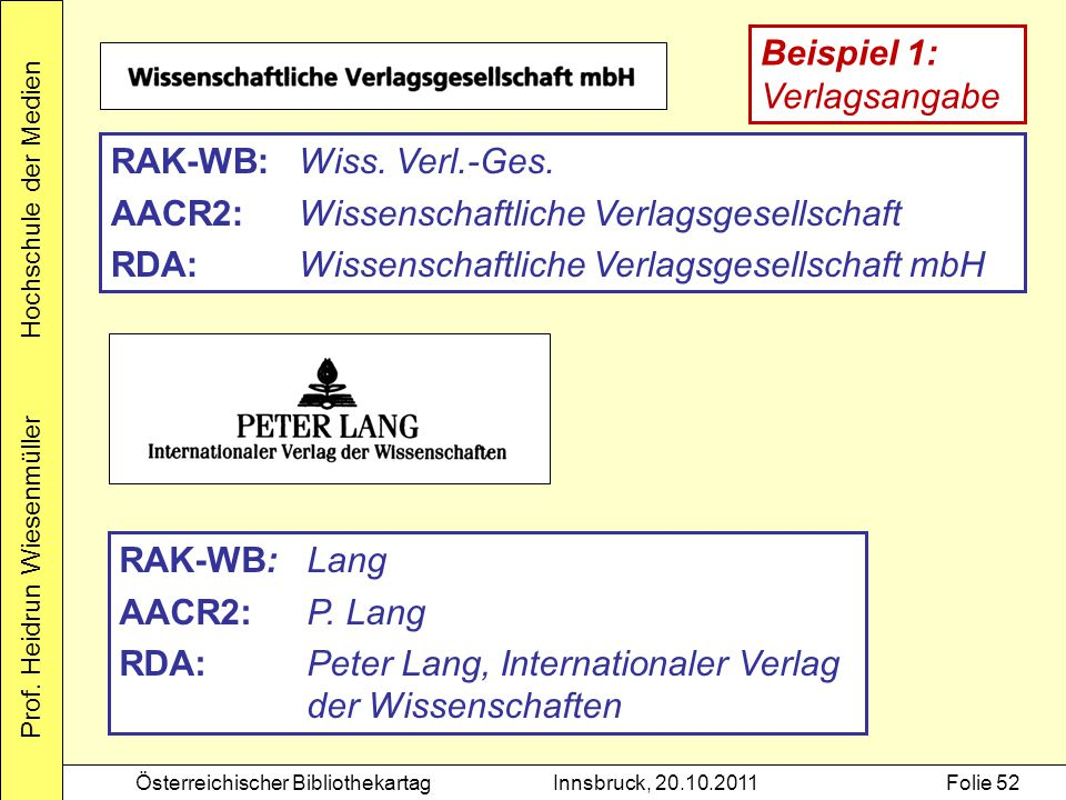 Prof. Heidrun Wiesenmüller Hochschule der Medien Österreichischer BibliothekartagInnsbruck, 20.10.2011Folie 52 RAK-WB:Wiss. Verl.-Ges. AACR2:Wissensch